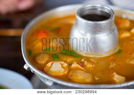 Tom Yum Or Tom Yam Is A Spicy Soup Typical In Thailand.
