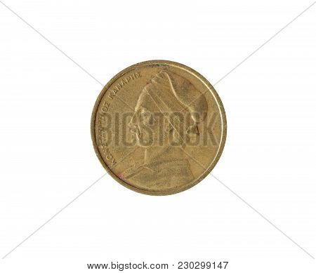 Obverse Of Vintage One Drachma Coin Made By Greece 1976