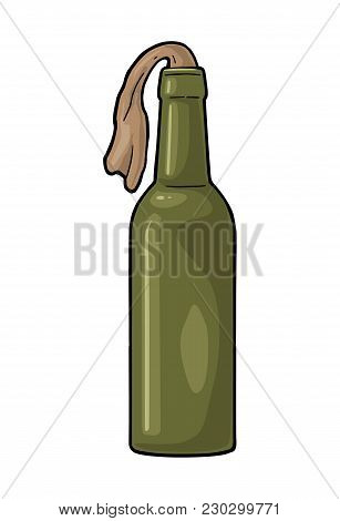 Molotov Cocktail. Glass Bottle With Gasoline And Rag Wick. Engraving Vintage Vector Color Illustrati