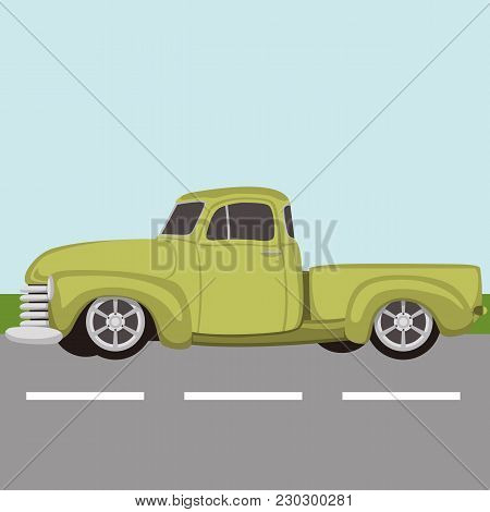 Classic Pickup Truck Vintage Vector Illustration Flat Style
