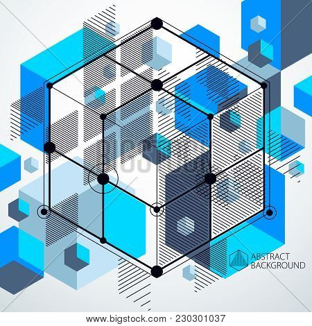 Vector Of Abstract Geometric 3d Cube Pattern And Blue Background. Layout Of Cubes, Hexagons, Squares