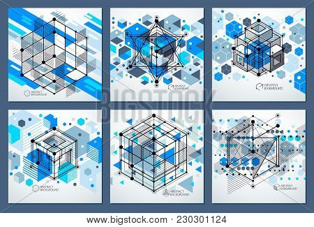 Modern Isometric Vector Abstract Blue Backgrounds Set With Geometric Element. Layout Of Cubes, Hexag