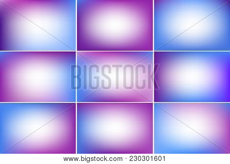 Blue And Purple Vivid Color Banners. Blurred Abstract Vector Backgrounds With Copy Space. Colorful G