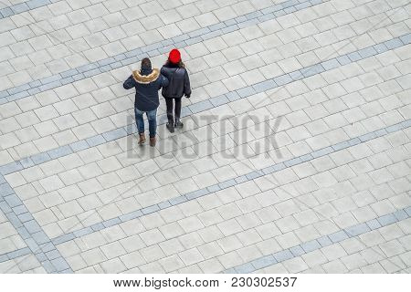 Aerial View Of Couple Crossing The Square In The City Of Munich, Germany