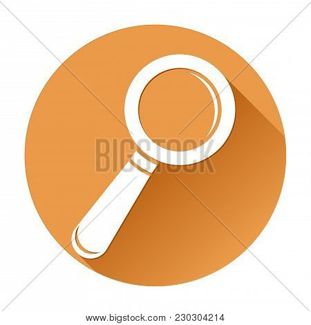 Magnifying Glass. Orange Round Search Icon. Vector Illustration Isolated On White Background