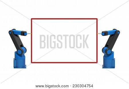 Two Robots Holding Empty Blank Board, 3d Rendering, On White Background