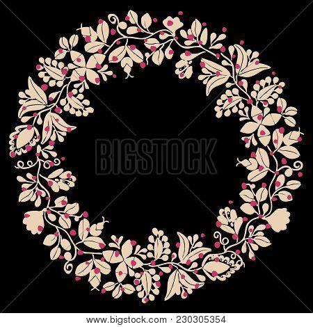 Pastel Pink Laurel Vector Wreath Decorative Frame On Black Background