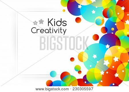 Creative Kids Cards With Colorful Bubble Decoration And Starry Texture. Horizontal Background