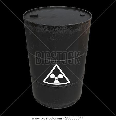 Black Radioactive Barrels On Black Background. 3d Render Illustration