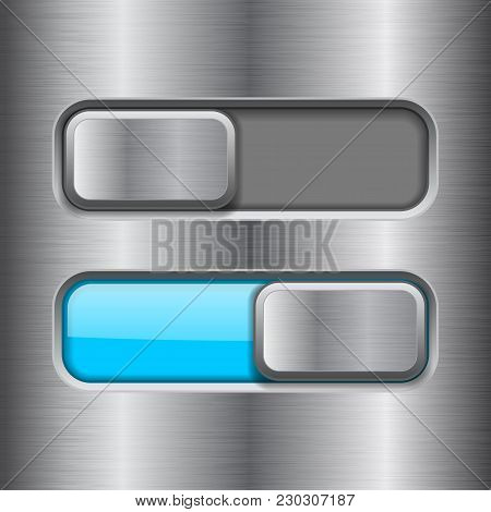 On And Off Blue Slider Buttons. Metal Switch Interface Buttons On Iron Background. Vector 3d Illustr