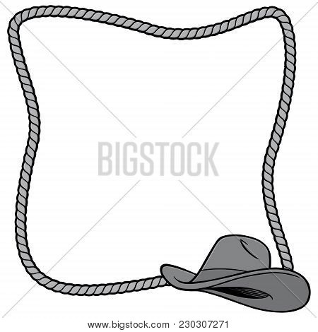 Rope Frame And Cowboy Hat Illustration - A Vector Cartoon Illustration Of A Few Rope Border Concepts