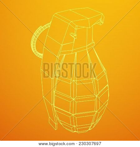 Hand Bomb Frag Grenade Wireframe Low Poly Mesh Vector Illustration
