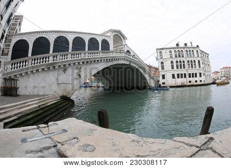 Great View Of Rialto Bridge Called Ponte Di Rialto In Italian Language In Venice Italy
