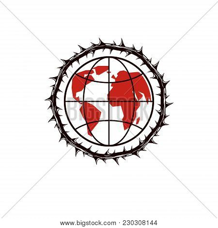 Vector Earth Planet Illustration Surrounded By Thorn Of Crowns. Totalitarianism As The Evil Power, D