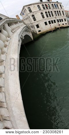 Rialto Bridge With Fisheye Lens In Venice Italy Without People