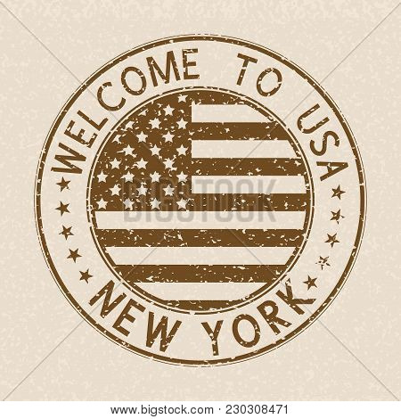 Welcome To Usa Postmark. New York Brown Stamp On Beige Background. Vector Illustration