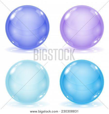 Glass Balls. Set Of Blue 3d Shiny Sheres Isolated On White Background. Vector Illustration
