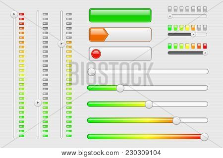 Interface Web Elements. Internet Sliders, Volume Level Bars. Vector 3d Illustration