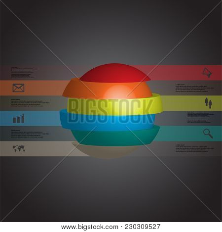 3d Illustration Infographic Template With Motif Of Sliced Ball To Six Brown Parts Which Are Stacked