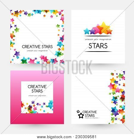 Creative Kids Design Collection. Vector Banners With Colorful Stars, Decoration Elements. Cards, Lab
