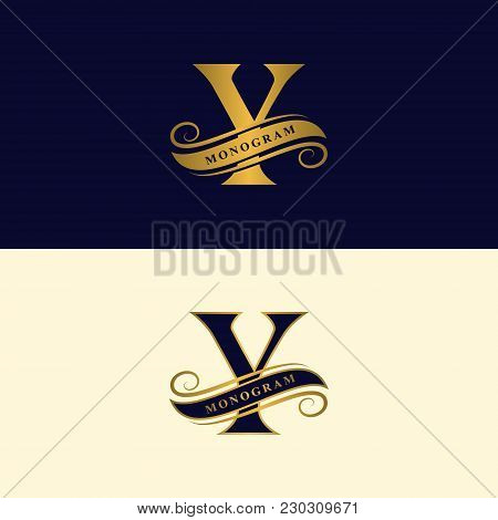 Gold Letter Y. Calligraphic Beautiful Logo With Tape For Labels. Graceful Style. Vintage Drawn Emble