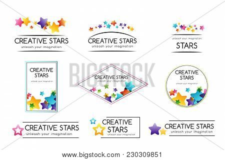 Creative Kids Design Collection. Vector Cards With Colorful Stars,  Decoration Elements. Badges And