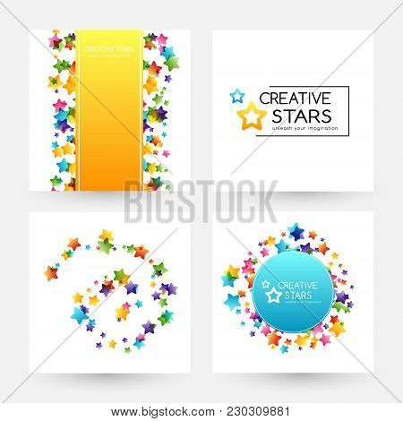 Creative Kids Design Collection. Vector Banners With Colorful Stars, Decoration Elements. Card, Labe