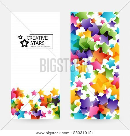 Creative Kids Design Collection. Vector Cards With Colorful Stars,  Decoration Elements. Vertical Fl