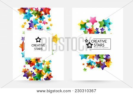 Creative Kids Design Collection. Vector Cards With Colorful Stars,  Decoration Elements. Posters Wit