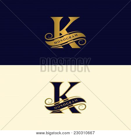 Gold Letter K. Calligraphic Beautiful Logo With Tape For Labels. Graceful Style. Vintage Drawn Emble