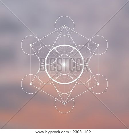 Spirit Element Symbol Inside Metatron Cube And Flower Of Life In Front Of Natural Blurry Background.