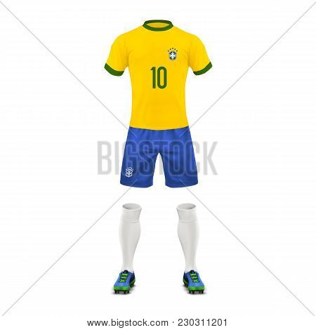 Vector Realistic Soccer Uniform Of A Brazil Team, Set Of Sports Wear, Shirt, Shorts, Socks And Boots