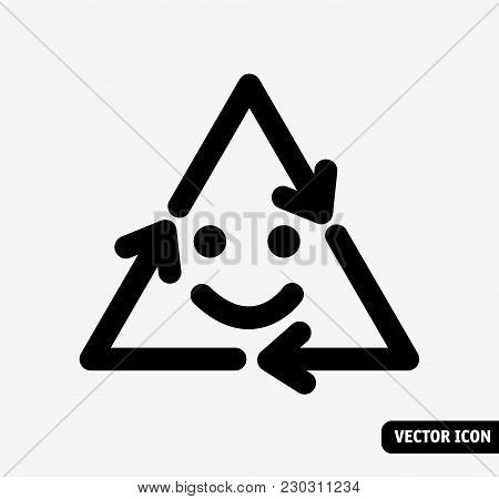 Smile Recycling Symbol Black And White Icon. Black And White Vector Illustration. Eps8