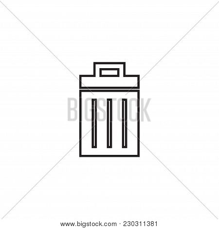 Outline Trash Icon Isolated On Grey Background For Web Site Design.