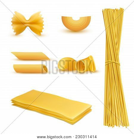 Vector 3d Realistic Set Of Dry Macaroni In Various Shapes, Pasta, Lasagna, Farfalle, Spaghetti, Riga