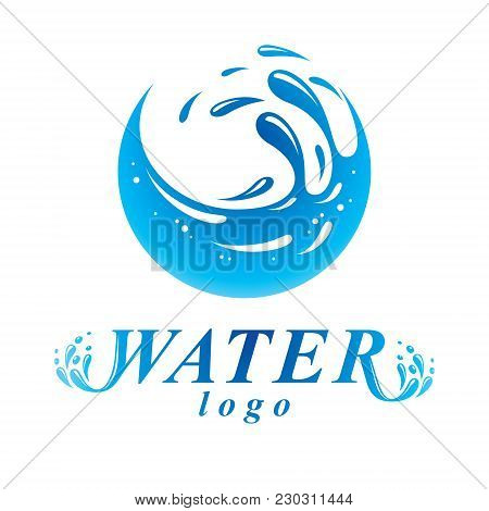 Global Water Circulation Vector Sign For Use As Business Emblem In Spa And Resort Organizations. Env
