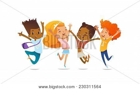 Joyous School Friends Happily Jumping With Their Hands Up Against Purple Background. Concept Of True