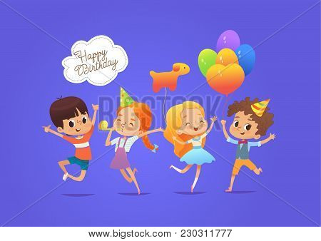 Happy Boys And Girls With The Balloons And Birthday Hats Happily Jumping With Their Hands Up Against