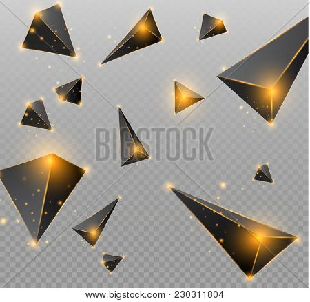 Realistic Triangles And Light Effects. 3d Effect.motion Of Flying Triangles. Vector Illustration.for