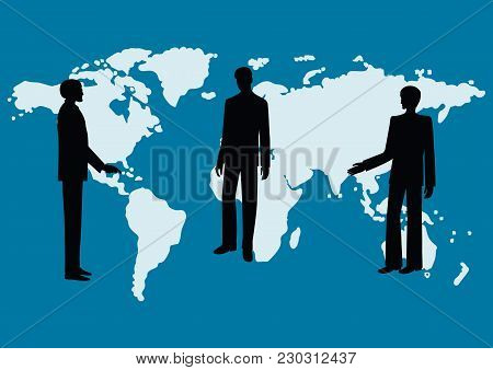 Silhouettes Of Men - Colleagues, Co-workers, Boss And Subordinates, Against The Background Of The Wo