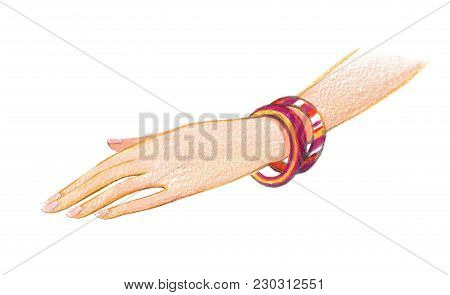 Female Hand With Multi-colored Bracelets. Drawing With Colored Pencils