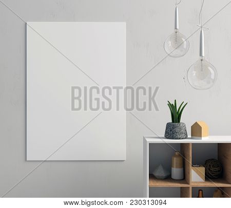 Modern Interior With Bedside Table, Posters And Lamps. Poster Mock Up. 3d Illustration