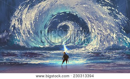Man With Magic Spear Makes A Swirling Sea In The Sky, Digital Art Style, Illustration Painting