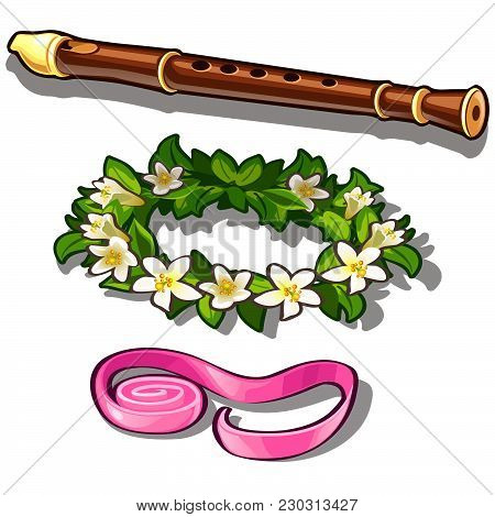 Flute And A Wreath Of White Flowers. Vector.