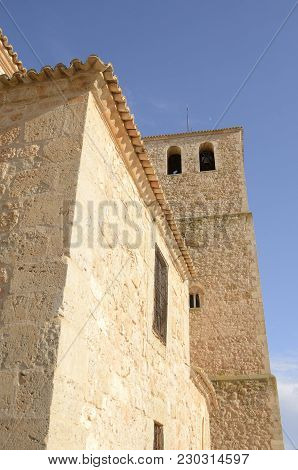 Bell Tower In Belmonte, A Village Located In The Province Of Cuenca, Castile-la Mancha, Spain.