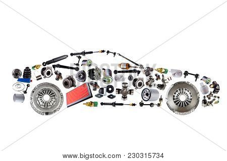 Passenger Car Assembled From New Spare Auto Parts For Shop Aftermarket. Isolated On White Background