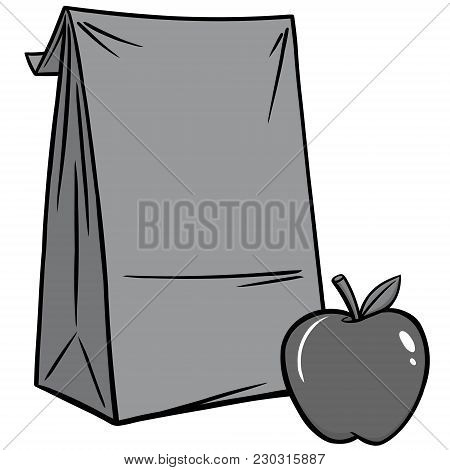 Sack Lunch Illustration - A Vector Cartoon Illustration Of A Sack Lunch Concept.