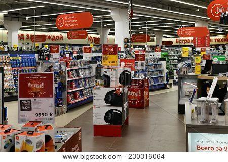 Khimki, Russia - March 08. 2018. Inside Of Shop Mvideo In A Shopping Center League