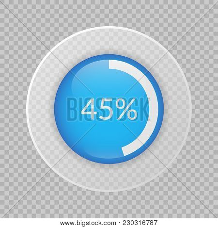 45 Percent Pie Chart On Transparent Background. Percentage Vector Infographics. Circle Diagram Isola