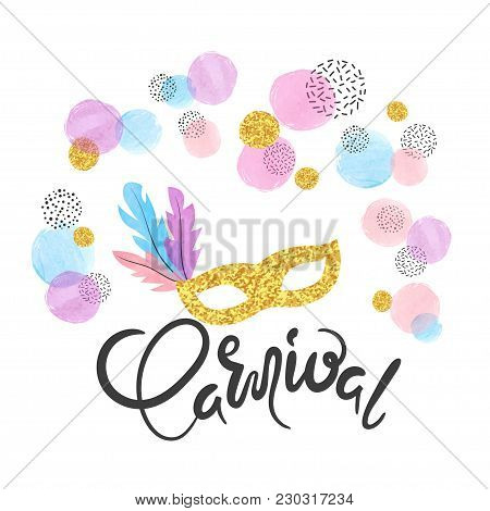 Carnival Vector Poster With Golden Mask And Colorful Confetti. Festival Design.